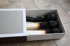 Burnt Matches sculptures by Wolfgang Stiller