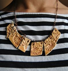 Crochet texture necklace, Collana texture uncinetto, Orange necklace