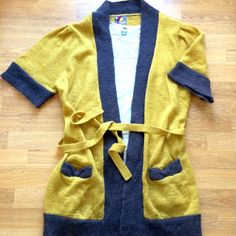 """Host Pick!Anthropologie yellow/grey cardigan Beautiful Anthropologie by Yumi London belted 3/4 sleeve mustard yellow cardigan with front pockets. Worn once, like new condition.  100% acrylic. Lying flat measures approx. 33"""" shoulder to hem, 19"""" pit to pit, 13.5"""" shoulder to sleeve end. Anthropologie Sweaters Cardigans"""