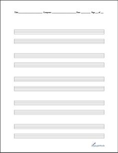 Blank Music Stationary for Practice or composition