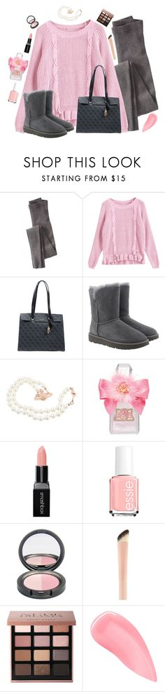 """""""pink and gray"""" by pocketfullofglitter ❤ liked on Polyvore featuring Wrap, GUESS, UGG, Juicy Couture, Smashbox, Bobbi Brown Cosmetics, Kevyn Aucoin, Pink, fashionWeek and gray"""