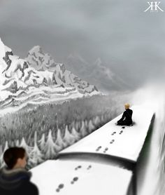"""I appreciate it"" by BlackMetallic: ""Well, I'm reading the EE series again and have reached book number 4. There was something so touching about the description of Sicarius sitting on the train roof on his own, against a majestic, white panorama of mountains that I just had to paint it."""