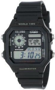 Casio Men's AE1200WH-1A Black Analog Digital Multi-Function Watch