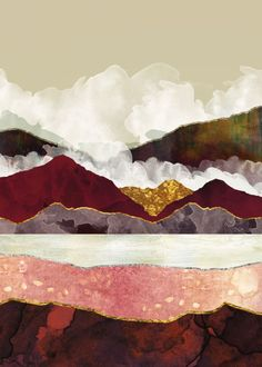 Melon Mountains Mini Art Print by spacefrogdesigns Contemporary Abstract Art, Abstract Landscape, Landscape Fabric, Landscape Design, Abstract Nature, Tiered Landscape, Landscape Nursery, Landscape Stairs, Landscape Wallpaper