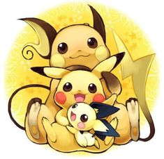 pichu,pikachu y raichu todos kawaii a la vez Pichu Pikachu Raichu, Pikachu Art, Pokemon Fan Art, All Pokemon, Pikachu Drawing, Pokemon Pikachu Evolution, Pokemon Charizard, Charmander, Pokemon Stuff