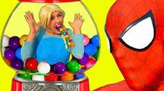 ELSA & GUMBALL MACHINE 💗 Frozen Elsa Spiderman Bubble Gum Superhero