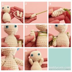After we gave him a movable head, Tutorial Boy now wants movable arms! I say he deserves them! =) 1. You will need the main body of your amigurumi (that can be finished, stuffed and closed), one arm with a long tail and another arm with the tail weaved in. 2. For clearness purposes the green yarn will take the place of the long tail of one of the arms. 3. Insert the needle under a stitch of the last round and pull the yarn. 4. Insert the needle in the body at the desired height and ...