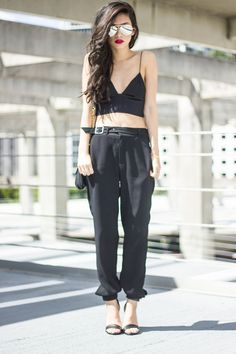 all black, chic. trousers love <3