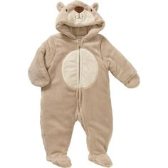 Quiltex Newborn Baby Boy Fleece Bear Pram, Size: 0 - 3 Months, Brown
