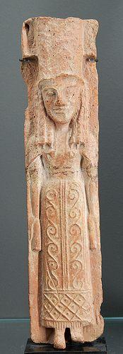 Ancient Greek Goddess polos from Crete 640 BCE  Terracotta