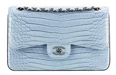 Chanel Faded Alligator Classic Flap Bag Blue