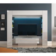 Luxusná obývacia stena MONTEREJ je vysokokvalitná TV stena, ktorá obsahuje výklopnú hornú a dolnú časť. Doplnená je 4 po... Led, Bathroom Lighting, Flat Screen, Police, Mirror, Furniture, Home Decor, Products, Bathroom Light Fittings