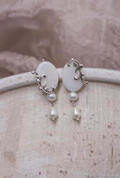 803e8dda3 Pearl wedding earrings. Earrings with pearls for bride – shop online on  Livemaster with shipping