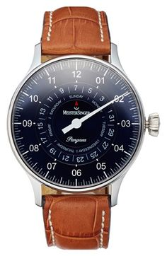 MeisterSinger 'Pangaea Day Date' Automatic Single Hand Leather Strap Watch, 40mm
