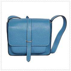 Hermes Jypsiere Men's Togo Leather Messenger Bag Light  Blue