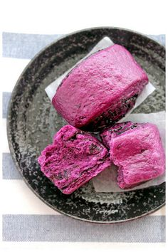 Recipe:  Purple Sweet Potato Mantou (Steamed Buns) with Black Sesame Seeds