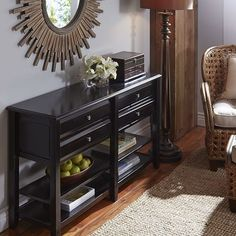Anywhere Large Rubbed Black Console Table with Knobs