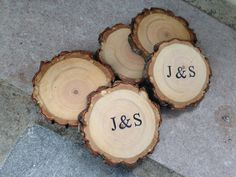 50 qty PERSONALIZED 1.5 to 2 wood slices tree branch by JTLWoods
