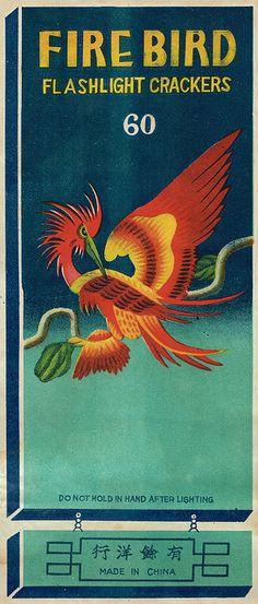 Firebird firecracker pack label by Mr Brick Label Vintage Labels, Vintage Ephemera, Vintage Prints, Vintage Art, Vintage Graphic, Chinese Firecrackers, Vintage Fireworks, Matchbox Art, Illustrations