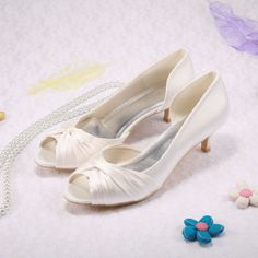 Free Shipping Low Heels Shoes Lady Women Pump Open Toes Ivory Satin Wedding Shoes Bride Size 41