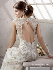 *Sottero and Midgley by Maggie Sottero Clementine-4SC988  Style Number:Clementine-4SC988 Sottero and Midgley Collection   Bold metallic embroidered floral lace appliqués adorn tulle in this sheath with Swarovski crystal beaded neckline and keyhole back, finished with zipper closure.   Our Price: $1389.00