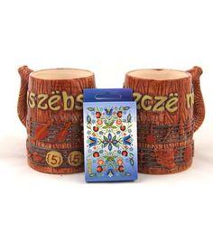 Two regional, Kashubian mugs and playing cards with elements of Kashubian. More www.phukaszub.pl