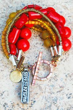 "TIBETAN RED CORAL NECKLACE Dangling Tassel Big PENDANT GIFT IDEA 25/"" Long Indian"