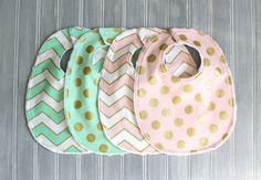 Mint, Pink and Gold Bib Set - Set of 4 Minky Bibs - Baby Girl Mint Green and Light Pink with Gold Polka Dots and Gold and White Chevron