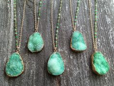 Green Druzy Necklaces with Chrysoprase Stone Accents - NG06Druzy on Etsy, $92.00