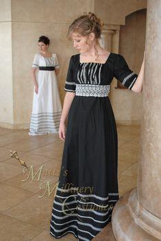 Black Regency Jane Austen Cotton Day Gown Dress in by MattiOnline