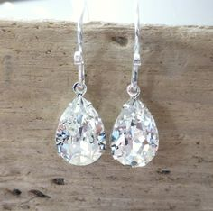 3 Long Silver Clear Aurora Borealis AB Austrian Crystal Pageant Earrings ID-340