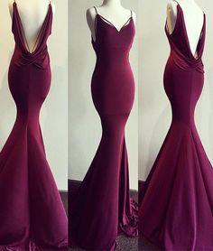 Burgundy mermaid long prom dress, burgundy evening dress