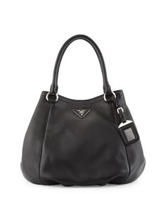 Vitello Daino Small Satchel Bag, Black (Nero) by Prada at Neiman Marcus.