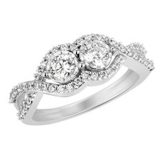 3/4CTTW Two Stone Diamond Ring in14K WG