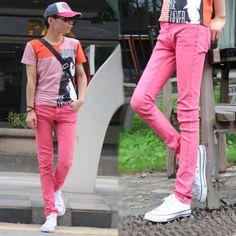 Free shipping 2014 Fashion Pink Summer Men Thin Chino Pencil Denim Overall Pants for Mens Slim Skinny Pantalon Homme Jeans 26-34 US $33.65