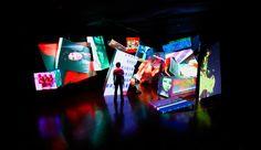 asian art installation - Google Search Projection Installation, Projection Mapping, Art Beat, Bühnen Design, Event Design, Exhibition Space, Museum Exhibition, Stage Set Design, Scenic Design
