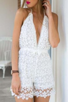 Sexy Halter Neck Sleeveless White Lace Backless Women's Romper