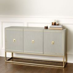 An elegant nod to refined Campaign styling, our Harper Sideboard is designed at the perfect height for buffet serving. Center cabinet has three drawers that open on full extension metal glides for easy access. Cabinets on each end have one adjustable shelf each for stacking dishes and serving pieces.
