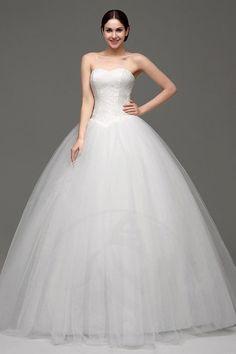 Spitze schulterfreier Ausschnitt Gefaltet Brautkleid
