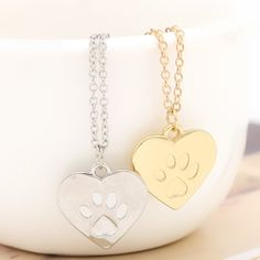 YYW Hot Sale Punk Cat Dog Paw Print Pet Animal Pendant Charm Necklace Women Man Pendant Cute Delicate Statement Necklace Jewelry #Affiliate