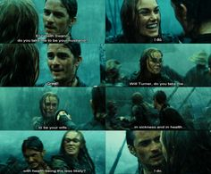 I loved this part so much. I love how Barbossa's just like going around fighting and conducting a wedding ceremony...(: