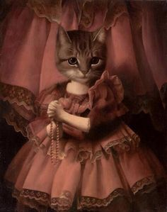 If our animal masks had ancestors we think they'd look like the subjects of these dreamy oil and mixed media paintings by British artist Stephen Mackey. Mackey paints fantasy scenes and formal. Crazy Cat Lady, Crazy Cats, Animal Gato, Photo Chat, Cat People, Vintage Cat, Cool Cats, Cat Art, Pet Portraits