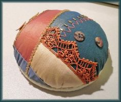 """A tutorial & diary for a brilliant crazy quilt pincushion. (Idea for this pincushion comes from the blog """"Ivory Blush Roses."""")"""