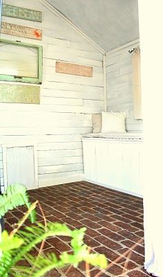 faux brick floors...time to start collecting some brick for my garden shed floor