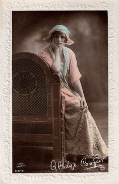 Gladys Cooper | British hand-painted postcard by Rotary Photo, London, no. S. 27-4. Photo: Lallie Charles.  British stage and film actress Gladys Cooper (1888-1971) started her 66-year theatrical career as a Gaiety Girl and ended it as a Dame and widely respected mistress of her craft.   For more postcards, a bio and clips check out our blog European Film Star Postcards or follow us at Tumblr or Pinterest.