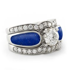 Gorgeous blue lapis lazuli engagement ring with two diamond bands.  #bridaltransformed