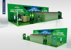 Espacio Heineken para el centro comercial El Pinar, con motivo de la celebración de la UEFA Champions Leage, simulando un campo de fútbol con botellas de Heineken. Diseño de Promometro.