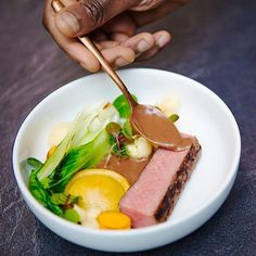Lamb suya_plantain ravioli and Ghanaian Shito sauce_cassava purée #Cuisine #afrofusion #dieuveilmalonga @orpheenoubissiphotography #ghana🇬🇭