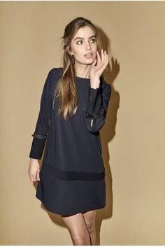 Navy a-svinget kjole Mos Mosh - 124440 madden fray Shirt Dress, T Shirt, Navy, Dresses, Fashion, Environment, Supreme T Shirt, Hale Navy, Vestidos