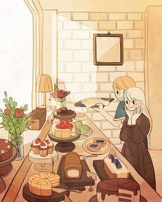 Aesthetic Art, Aesthetic Anime, Cute Couple Art, Anime Scenery Wallpaper, Cartoon Art Styles, Kawaii Wallpaper, Cute Cartoon Wallpapers, Cute Illustration, Anime Art Girl